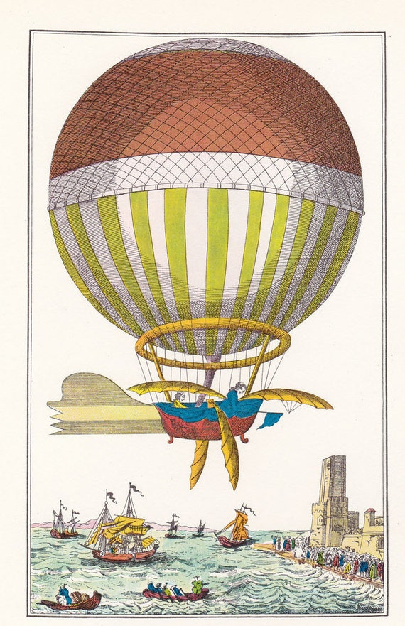 Vintage Balloon Print hot air balloon transport Montgolfier