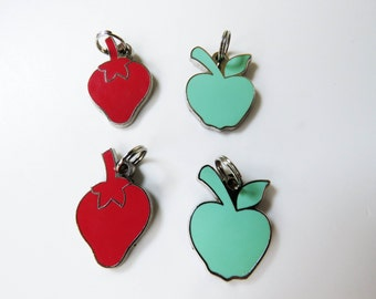 4 vintage 70s enamel charms / pendants - 2 apples 2 strawberries