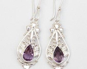 Amethyst Earrings Silver 925 Sterling Silver Amethyst Jewellery Amethyst Gemstone Ethnic natural women February Birthstone Earrings Amethyst