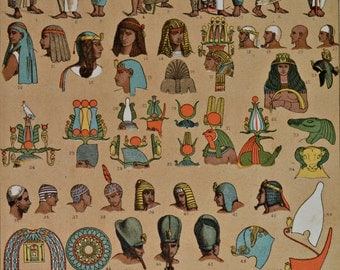 Egyptians clothes and ornaments. Ancient History. Antique print,1894.  121 years old print.  11,5 x 8,4 inches.