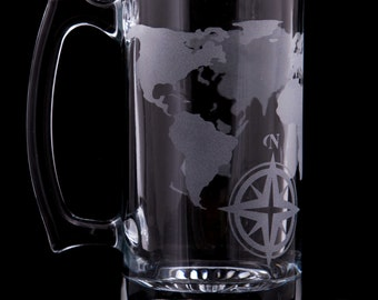 World Map Beer Stein Etched Glass