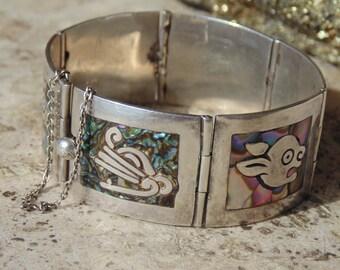Gerardo Lopez ~ Vintage Sterling Silver and Abalone Aztec Deity Bracelet