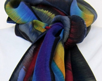 Large scarf, silk and wool blend, multicolored and handpainted.  Hand painted silkwool blend scarf in many colors with black. For guys too!