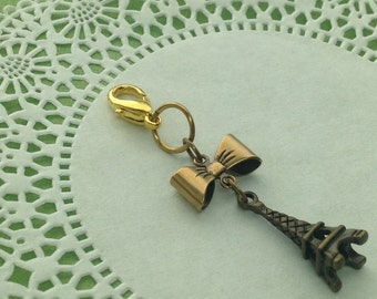 Planner Charm - antiqued brass Eiffel Tower