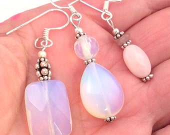 7 different Opalite or Pink Peruvian Opal Earrings. Sterling Silver.  free US ship