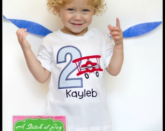 Boys Birthday Shirt, Boys Airplane Birthday Shirt, Vintage Airplane, Airplane Birthday Theme, Embroidered Applique Bodysuit or Shirt