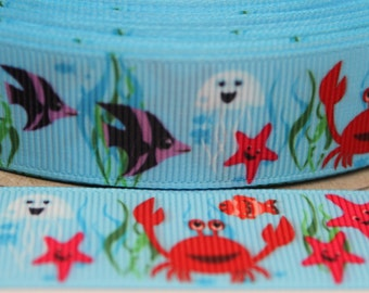 Sealife Ribbon 7/8 Inch Grosgrain Ribbon by the Yard for Hairbows, Scrapbooking, and More!