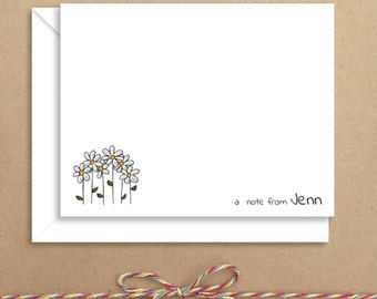 Flat Note Cards - Daisy Flat Notes - Flat Thank You Cards- Illustrated Note Cards