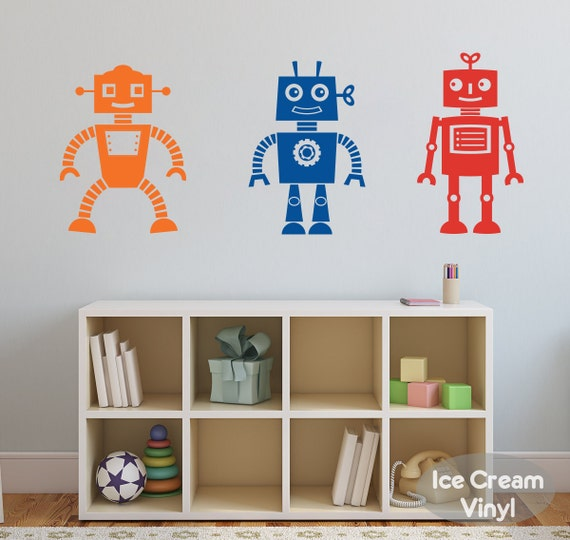 Robot Wall Decal Space Robot Boy Bedroom Wall Decor Space Robot Wall Stickers Baby Boy Nursery Wall Decals Robot Wall Decal Art Decor
