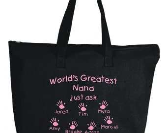Custom Grandma Tote Bag, Grandmother Gift, Nana Tote, Nonna Tote, Godmother, Aunt, Mom, Personalized Names/Handprints, World's Greatest