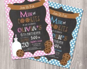 Milk and cookies invitation, milk and cookies birthday, cookies and milk invitation, chalkboard invitation, Printable Invitation, digital
