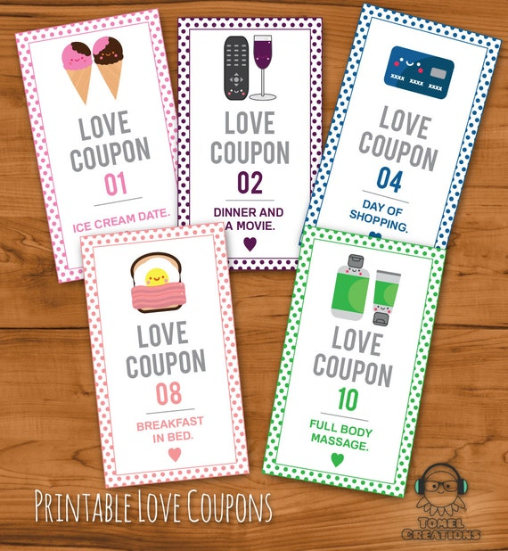 printable romantic love coupons instant download by