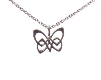 butterfly necklace, charm necklace, butterfly jewelry, nature jewelry, silver necklace, celtic jewelry, celtic butterfly necklace