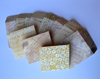 Mini Square Envelopes and Note Cards - Mini Vintage Envelopes - Mini Envelopes - Mini Notecards - Square Envelopes - Square Notecards