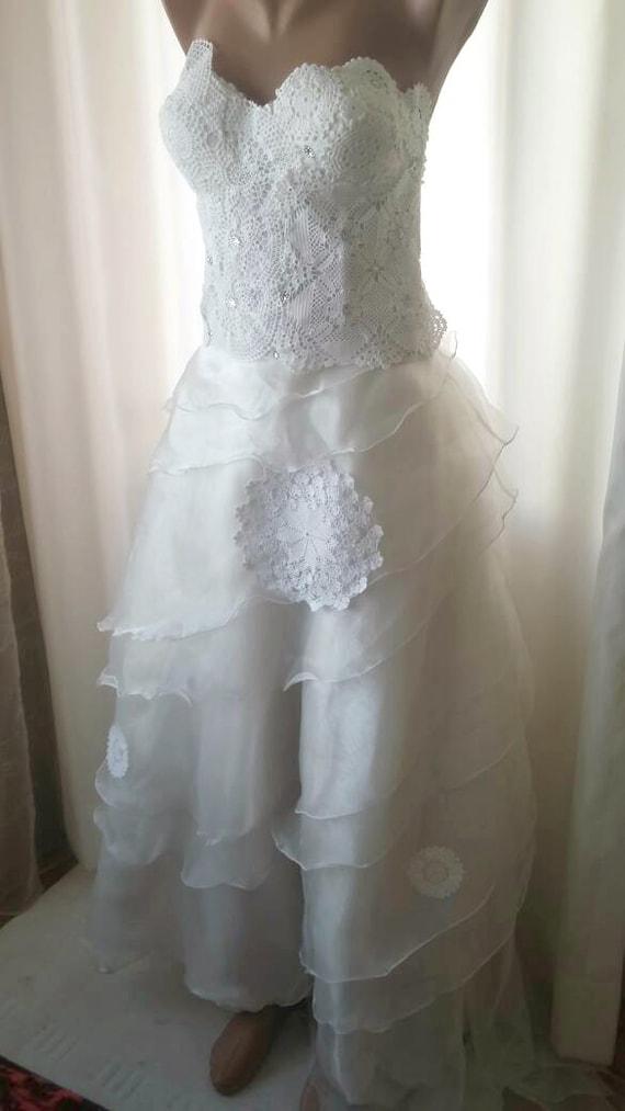 Boho Crochet doily collage romanthic wedding dress/OOAK/doily/ alternative wedding dress/Crochet bridal/upcycled wedding dress