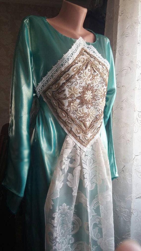 Turquise taffeta embroidered engagement dress/bridesmaid/evening/islamic fashion