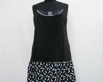 Black slip Dress, plus size dress, white and black dress, black and white dress, rabbit dress, 3x 4x dress, upcycled dress refashioned dress