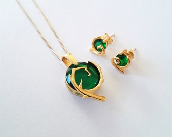 Kokiri Emerald 24k gold necklace spiritual stones inspired in The legend of Zelda series