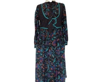 1980s floral René DERHY long sleeves DRESS // size eu 40 -uk 12 - us 8