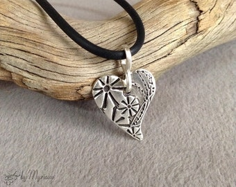 Flowers on Heart : textured fine silver heart pendant with sterling silver bail