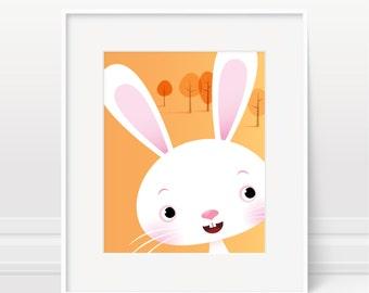 Nursery art rabbit, bunny print, rabbit print, children's art, Nursery print, kids illustration, kids bedroom, new baby, nursery art decor