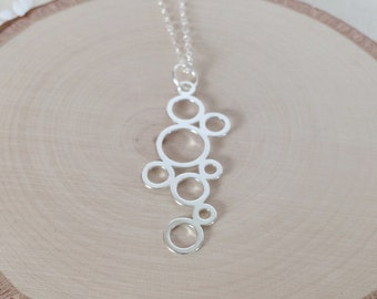 Sterling Silver Bubbles / Silver Loops Geometric Pendant on Sterling Silver Chain Necklace