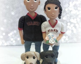 Custom Sports Jersey Wedding Cake Topper with Two Dogs