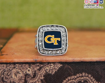 Georgia Tech Yellow Jackets Square Stretchy Ring