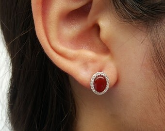 Carmeline Stud Earrings, sterling silver, 925, natural stone, maroon earrings, cubic zirconia