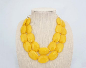Yellow Faceted Acrylic Gem Statement Necklace