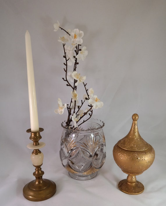Vintage gold home decor large pressed glass vase brass Home decor gold