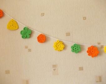 Nursery Crochet garland, banner, Gypsy Crochet Banner, crochet bunting, nursery decor, party decoration, Baby Shower, yellow, green, orange