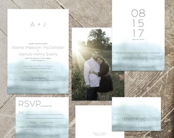 Minimalist Wedding Invitation Set, Ombre Stationery Suite, Invite, RSVP, Save the Date, Thank You Card