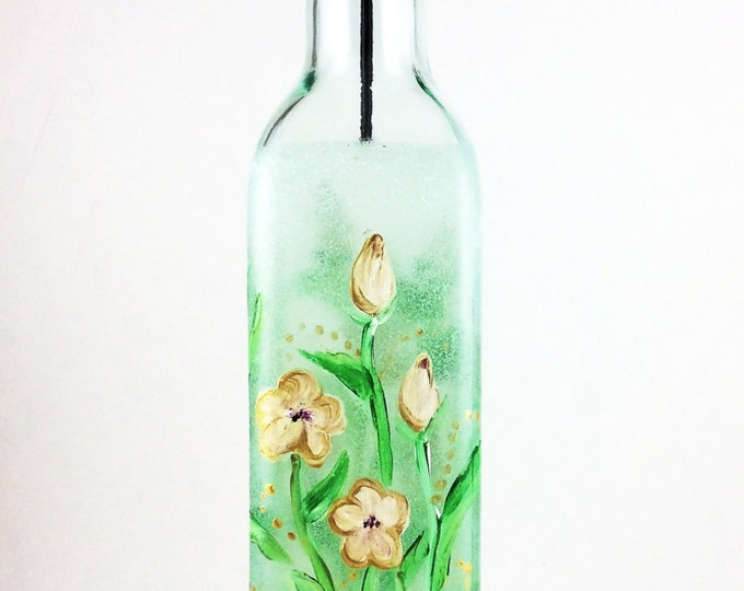 Olive Oil bottle, Olive Oil Dispenser, Essential Oil Bottle, housewarming gift, hostess gift ideas, Gift for her, Shabby Chic Bottles,