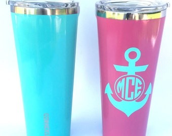 Corkcicle Tumbler with anchor logo. 24 ounce Corkcicle tumbler personalized with monogram or name available. Free Personalization.
