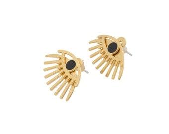 Gold Evil Eye Earrings, Front And Back Earrings, Front Back Earrings, Two Sided Earrings, Gold Ear Jacket Earring, Evil Eye Jewelry, Studs