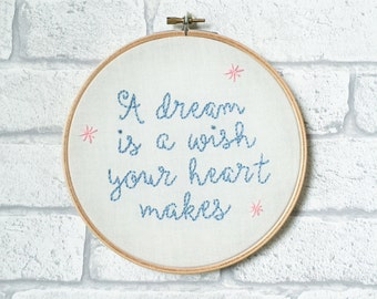 Embroidered Wall Art, Inspirational Quote, Disney Cinderella Quote, Wedding Gift, Nursery Decor, Embroidery Hoop Art, Framed Movie Quote