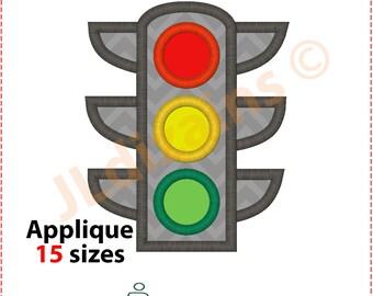 Traffic Lights Applique Design. Traffic light embroidery design. Traffic signals applique Embroidery traffic light Machine embroidery design