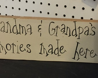 Hand painted primitive grandma/grandpa sign