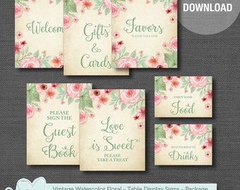 Table Display Signs Package, Vintage Watercolor Floral, Baby Shower Decor, Bridal Shower Decor, Instant Download, Printable, 004A