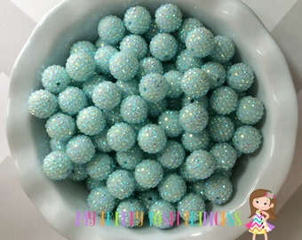 20mm Mint AB Rhinestones Chunky Bubble Gum Beads Set of 10 *New