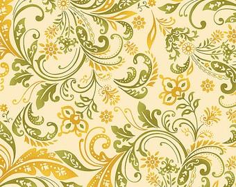 Cream Paisley Fabric Yardage. Welcome Harvest Henry Glass. Fall Fabric. Paisley Quilt Fabric. Holiday Fabric. Floral Fabric. Harvest Fabric.