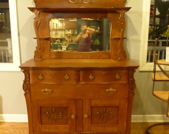 Antique Side By Side Curio Secretary Cabinet