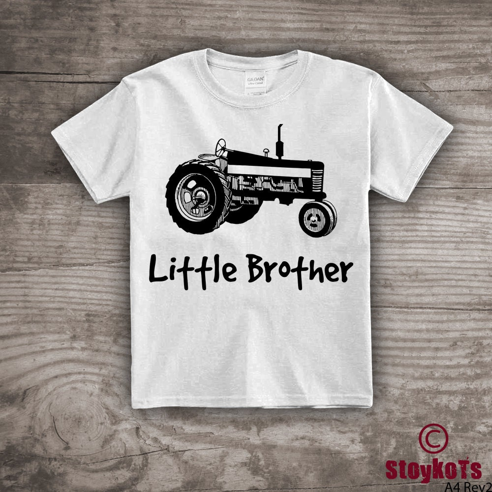 Tractor T Shirt For Kids Little Brother Personalized Shirt