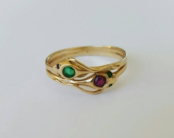 Antique 14ct gold tourmaline and spinel double snake ring
