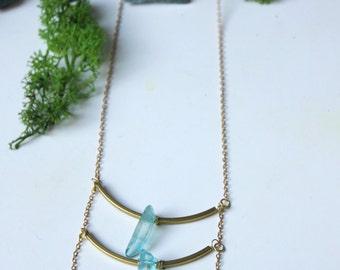 Lacerta - Multi-raws turquoise quartz necklace