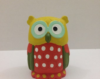 Ceramic Owl piggy bank with rubber stopper