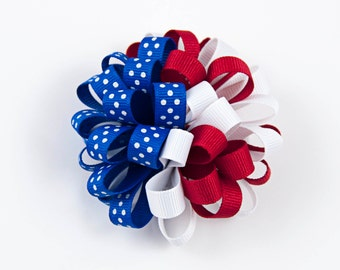Red, White, and Blue Hair Bow, Patriotic Hair Bow, July 4th Hair Bow, American Hair Bow, Patriotic Bow, 4th of July Hair Bow (Item #10399)