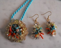 Gemstone Jewelry Set, Oregon Sunstones, Turquoise, Moonstone, Pearls, Coral, Original Design Pendant And Earrings
