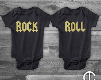 Rock and Roll - Twins - Infant Newborn, Funny Baby Shower Gift, Boy or Girl, Gender Reveal - Set of 2 - Two Gold on Black Onesies Onesie